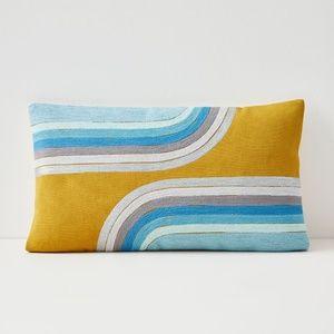 West Elm throw pillow cover lumbar gold silver